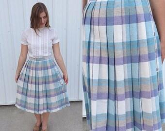 25% OFF SUMMER SALE 1970s pastel plaid skirt / pleated skirt / vintage skirt / midi skirt / plaid skirt / 60s skirt / 70s skirt / medium