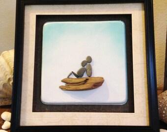 """Pebble Art  """" Baby Bump II """"  Beach Decor Stone Rock People Baby Shower Gift"""