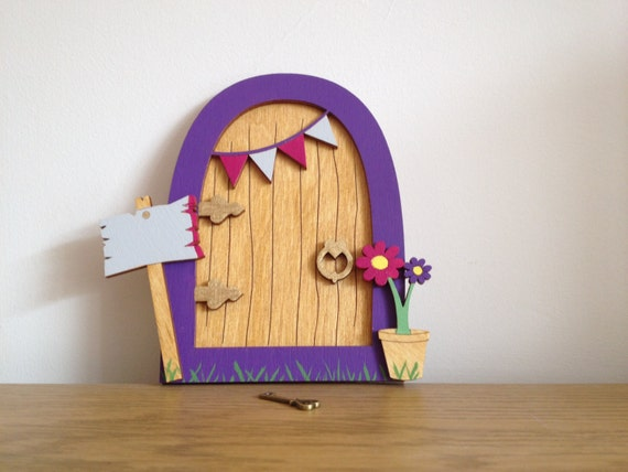 Fairy door handmade wooden painted purple pink and grey for Fairy door with key