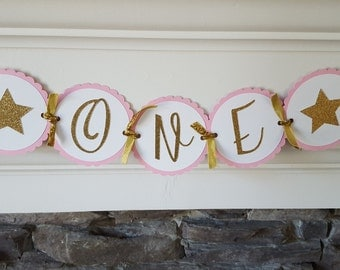 pink and gold high chair banner * pink and gold ONE banner * pink and gold birthday banner * first birthday * princess birthday