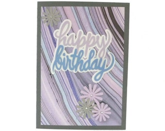 Birthday Greeting Card, Happy Birthday Card, Handmade Card, Purple-Grey-Pink, Paper Cut Card, TwoSistersGreetings