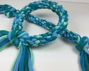 Ocean Mix Rope Dog Toy made from Upcycled T-shirts
