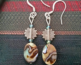 Abalone shell earrings with silver plated hooks