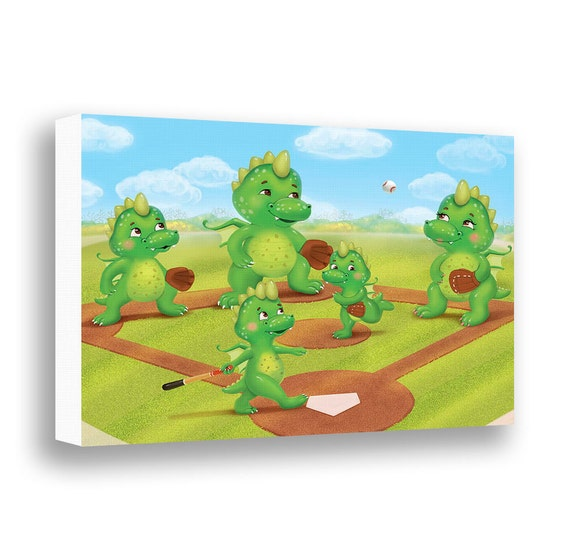 Dragon Wall Decor Canvas Art Boys Wall Art Baseball Wall Art