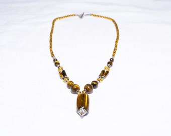 Courageous Tiger Eye Precious Gemstone Necklace with Silky Luster