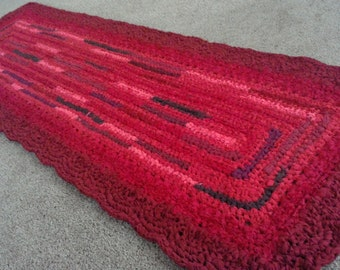 """72"""" X 24"""" Candy Apple Red Crocheted Rag Rug"""