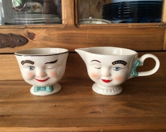 1996 Limited Edition Bailey's Winking Eye Creamer & Open Sugar Bowl Set