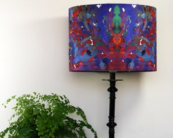 Abstract Lampshade Pendant or Lamp Coral Print by Evelle Home