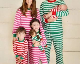 Christmas pajamas- Red and White stripped