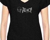 Teach Peace w/Ghandi - Ladies yogawear black  tri-blend V-neck Tee- Style 675