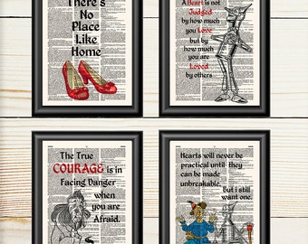 Wizard of Oz, Set of 4, Nursery Decor, Book Lover Gift, Dorothy, Lion, Scarecrow, Tin Man, Wizard of Oz Art, Book Prints, 140