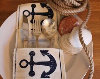 Nautical (Anchor) Flatware/Silverware Fabric Utensil Holder (Set of 4)