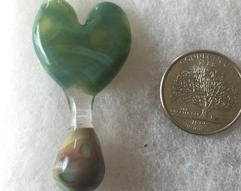 Dotted heart pendant with drop marble