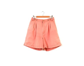 90s pleated cotton shorts / High-waisted salmon shorts / Pink cotton shorts / Cotton mom shorts
