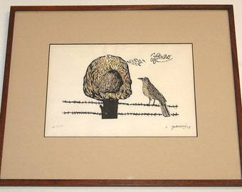 Antonio Frasconi Pencil Signed Colored Woodcut Hornero Red Oven Bird 1958 Framed Price Reduced