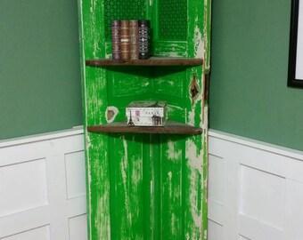 Rustic Reclaimed Door Corner Shelf