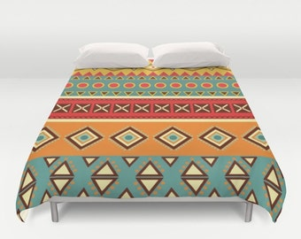 African sarong,Duvet cover,Bedding,Bedroom decor,Queen and King duvet cover,African boho duvet,geometric,orange,red,turquoise,tribal bedding