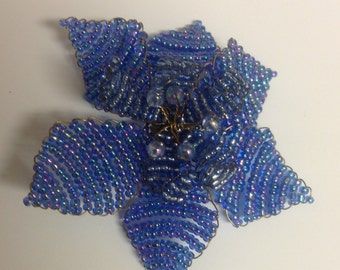 Vintage Beaded Flower Brooch Pin