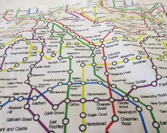 White London Underground Map, British Printed Polycotton Fabric. Price Per Metre