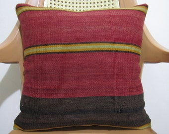 16 x 16 Vintage Turkish Anatolian Kilim Pillow Cover Tribal Pillow Accent Pillow Organic Pillow Cushion Bohemian Pillow Throw Pillow