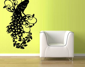 Wall Vinyl Designs vinyl wall decal sticker angel wings design big size Rvz1089 Wall Vinyl Sticker Bedroom Decal Peacock Bird