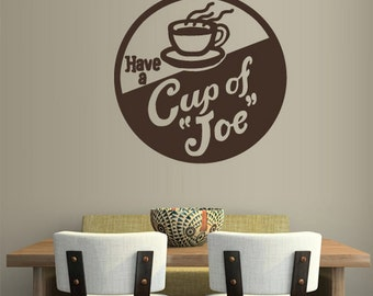 rvz1308 Wall Decal Vinyl Sticker Decals Coffee Cup of Joe Kitchen