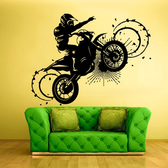 Dirt bike wall decals motocross dirt bike wall decals kids for Dirt bike wall mural