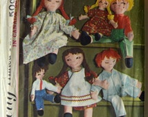 """1960s Simplicity Vintage Sewing Pattern 5714; Boy and Girl Rag Dolls with clothes - 15"""" and 24"""""""