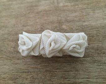 White Roses hair barrette • Handmade