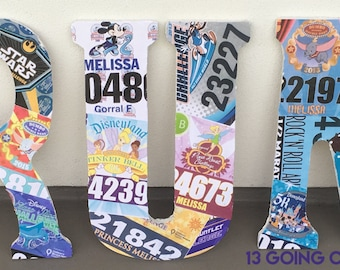 Personalized Wood Letters with Your Race Bibs or Mementos
