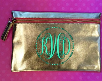 Monogrammed Gold Pencil Pouch or Cosmetic Bag