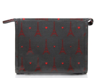 SALE! Womens Oilcloth Toiletry Washbag - Grey Parisian eiffel tower- Waterproof laminated cotton- Ladies make up cosmetic case large wet bag