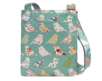 Oilcloth Crossbody bag - Green Bird - Ladies Purse - Ladies Handbag - Floral Satchel - Oilcloth bag - Oil cloth bag - Laminated cotton