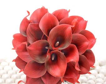 Deep Red Wedding Bouquet - Two Dozen Real Touch Artificial Calla Lilies - Select Ribbon and Pin Colors