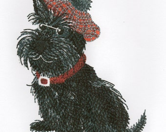 SCOTTIE DOG - Machine Embroidery Design - dog pet tammy plaid