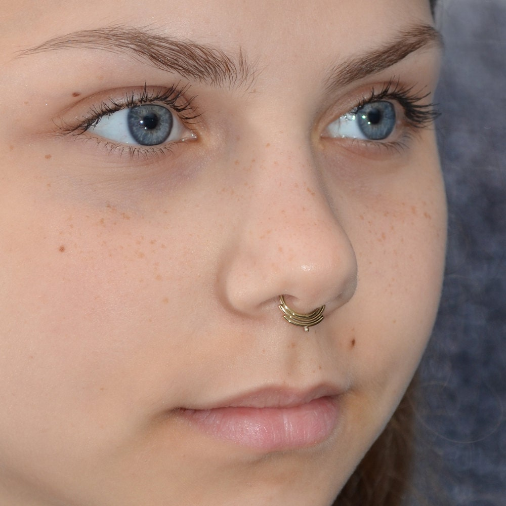 Gold SEPTUM RING septum jewelry 18g nose piercing tragus hoop