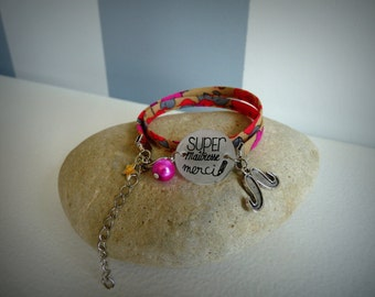 "Fabric bracelet ""Super teacher"""