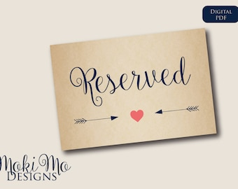 """Reserved Sign - Rustic/Navy Blue/Coral/Instant Download_4""""x6"""""""