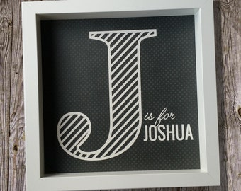 Personalised initial papercut name picture