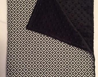 Black & White Cotton Print Blanket with Black Minky!