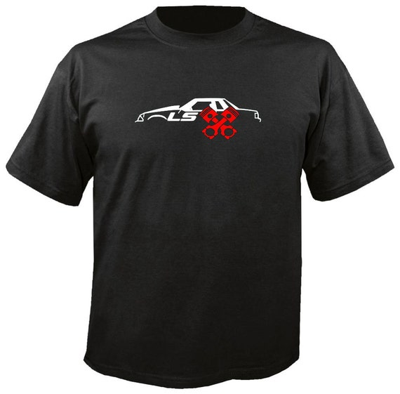 Ls fox body coupe mustang w pistons t shirt mens s 3x lsx engine