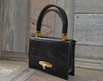Vintage 50s KORET Black Leather Handbag, Soft Black Leather Bag