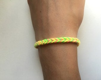 Neon Pink, Yellow, and Green Fishtail Friendship Bracelet