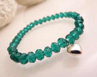 Green heart charm bracelet