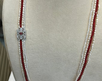 4 strand necklace with tiny pearls and crystal