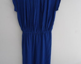 1970s Blue sheer maxi dress with maze pattern