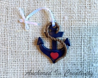 Anchor Ornament, Anchor with Heart Ornament, Navy ornament, Christmas Ornament, Holiday Ornament, Nautical Ornament