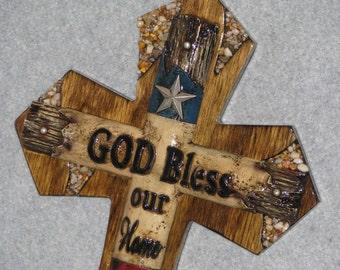 decorative cross, GOD BLESS OUR home Texas cross, handmade cross, wooden cross