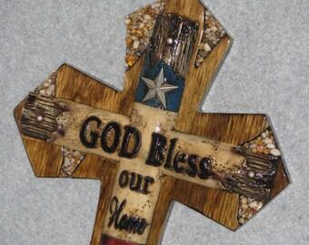 GOD BLESS OUR home Texas cross, handmade cross, wooden cross