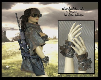 Post Apocalyptic LEATHER GLOVES Apocalyptic Cuffs Wrist Cuffs Fallout Wasteland Mad Max Apocalyptic Leather Gloves by WastelandWearable